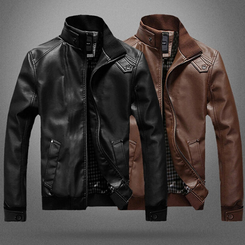 Men's Leather Jackets Men Stand Collar Coats Mens Motorcycle Leather Jacket Casual Slim Brand Clothing