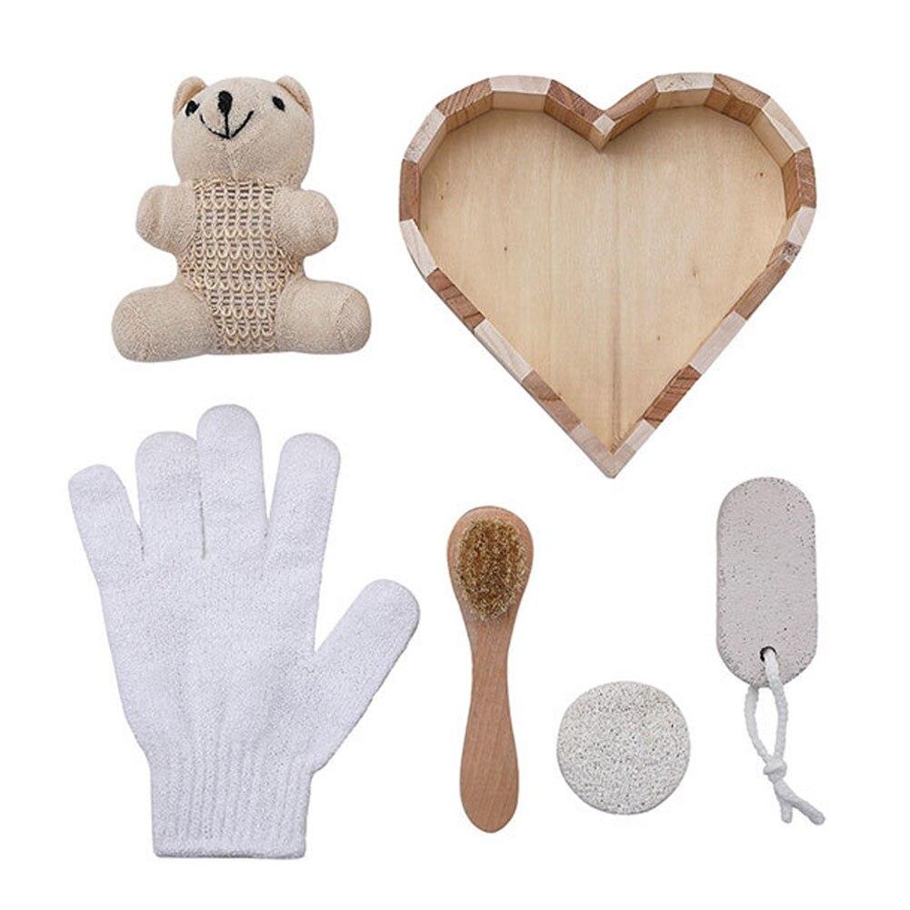 6PCS Body Brush Set Wooden Bathroom Shower Exfoliating Back Scrubber Gloves Bath Cleansing Tool Skin