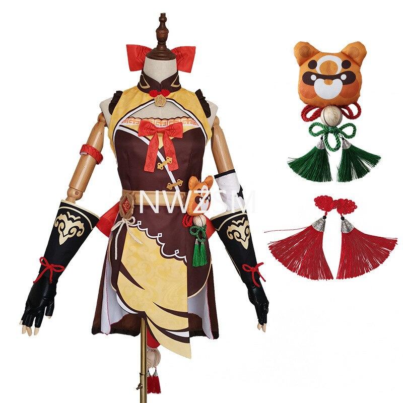لعبة Genshin تأثير Xiangling تأثيري حلي أنيمي المرأة فستان هالوين حفلة الزي الزي ازياء مصنوعة حسب الطلب