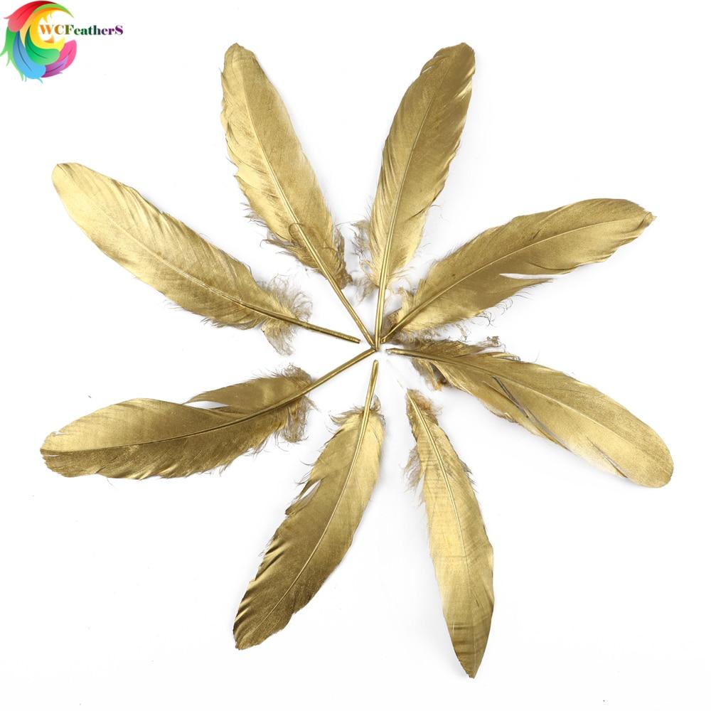 Wcfeathers ouro cor ganso penas de pato natural para diy jóias casamento casa artesanato decorativo pluma
