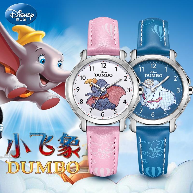 ساعة يد كوارتز أصلية من ديزني للأطفال ، دامبو ، كارتون ، للأولاد والبنات ، حزام من جلد البولي يوريثان ، مقاوم للماء ، هدية ، ساعة