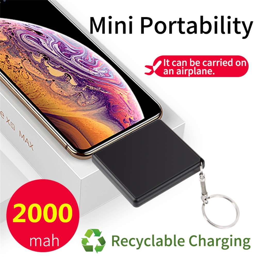 Ntspace 2000 mah protable viagem mini power bank para iphone xiaomi huawei carregador de bateria externa 2 em 1 plugue powerbank carregador