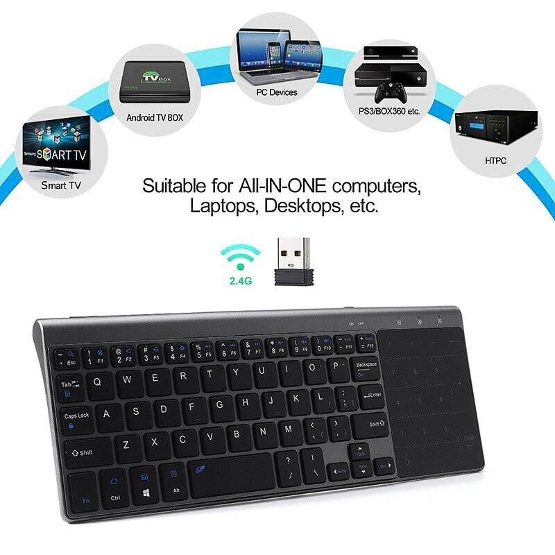 Dünne 2,4 GHz USB Wireless Mini Tastatur mit Anzahl Touchpad Numerische Tastatur für Android windows Tablet, Desktop, laptop, PC