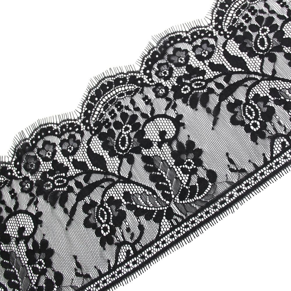 3 metros/pieza 18cm de ancho pestañas negras encaje flor elegante Unilateral onda de encaje tela hecha a mano Diy accesorios ropa interior
