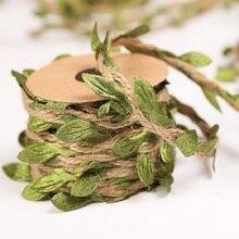 5mm soie vert feuilles 2m 5m tissage chanvre corde bricolage mariage anniversaire mariage décoration rotin cadeau Bouquet emballage fournitures