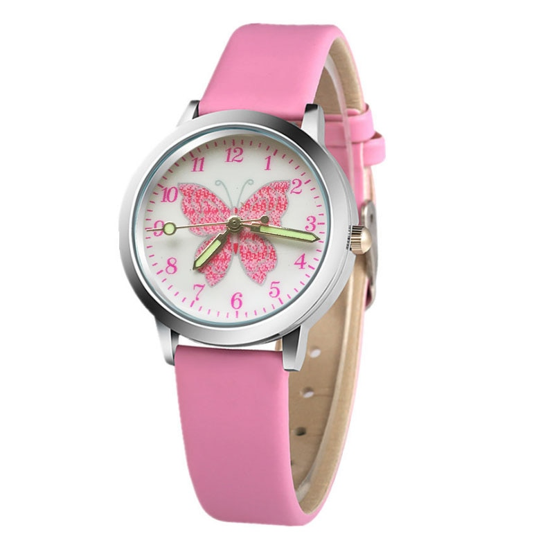 New Arrival High Quality Students Butterfly Pattern Kids Watches Children Causal Quartz Wristwatch R