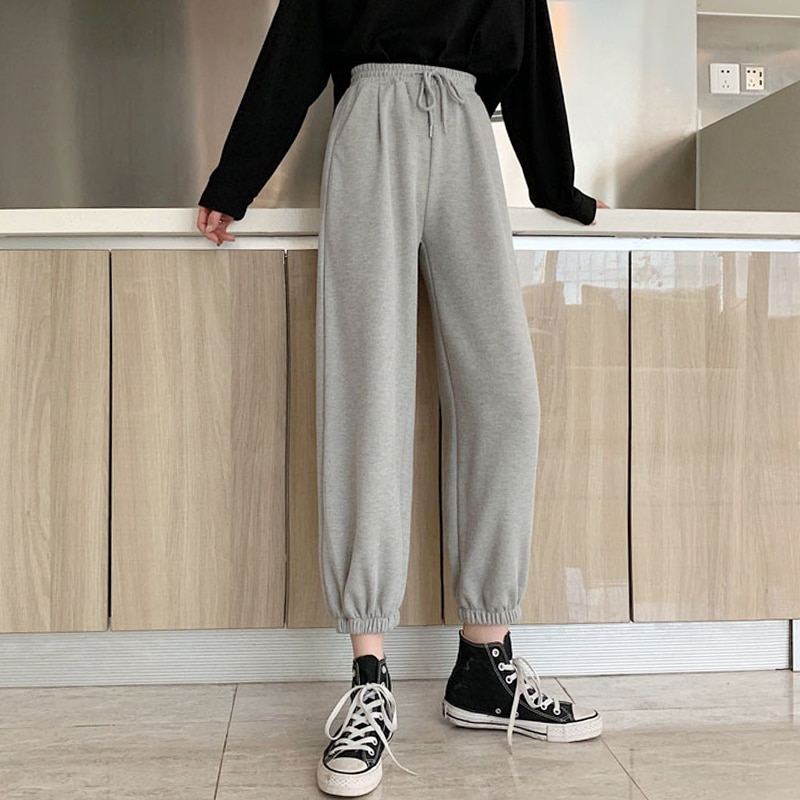 2020 Summer New Girlfriends Clothes Cropped Pants High Waist Loose Sports Casual Pants Versatile Ank