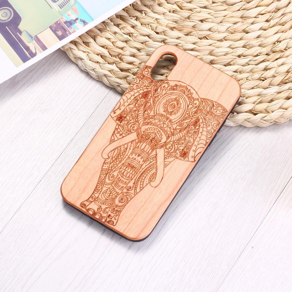 Elefante Vintage indio Floral Henna grabado madera teléfono funda Coque para iPhone 6 6S 6Plus 7 7Plus 8 8Plus XR X XS X Max 11 Pro Max