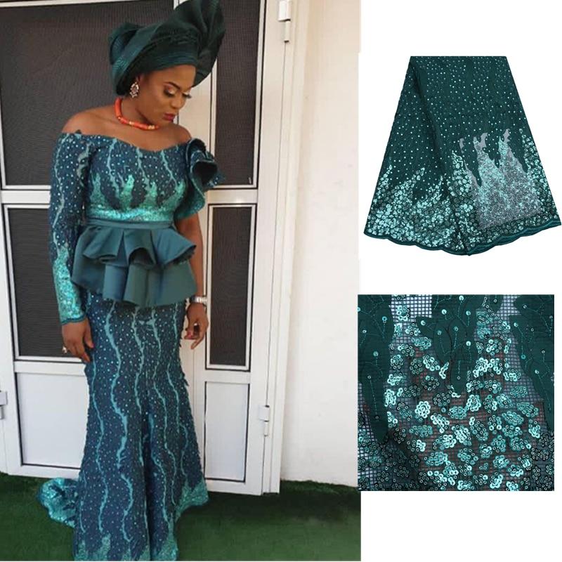 Kalume mais recente francês tecido de renda líquida 5 quintal lantejoulas africano 3d tecido renda com lantejoulas rendas nigeriano para festa casamento f1798