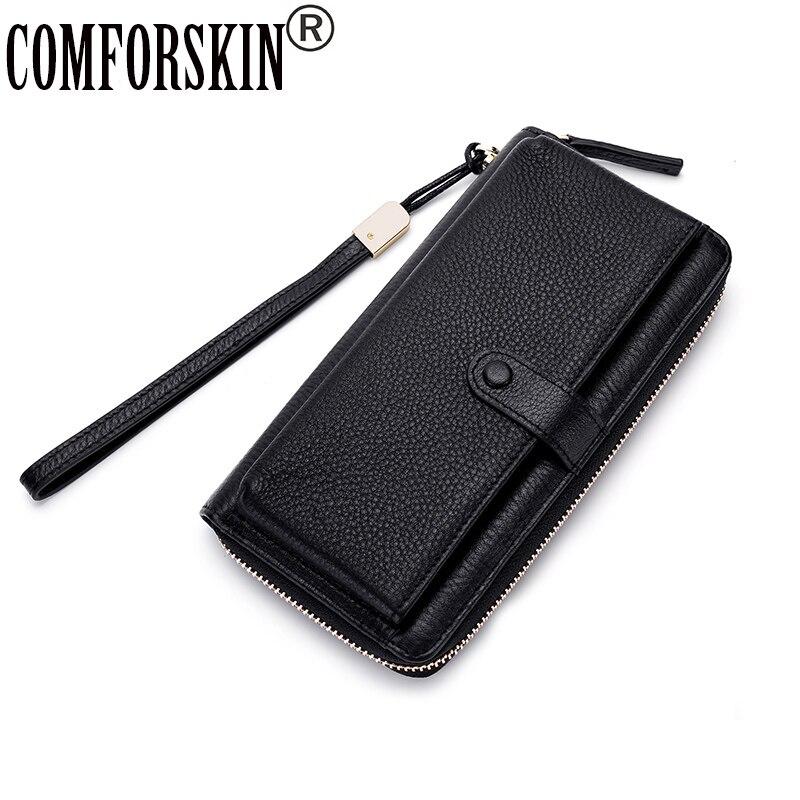 Comfort skin Premium-محفظة نسائية من الجلد الطبيعي 100% بسحاب ، محفظة طويلة بنمط الليتشي ، محفظة بطاقات متعددة الوظائف ، عرض رائع