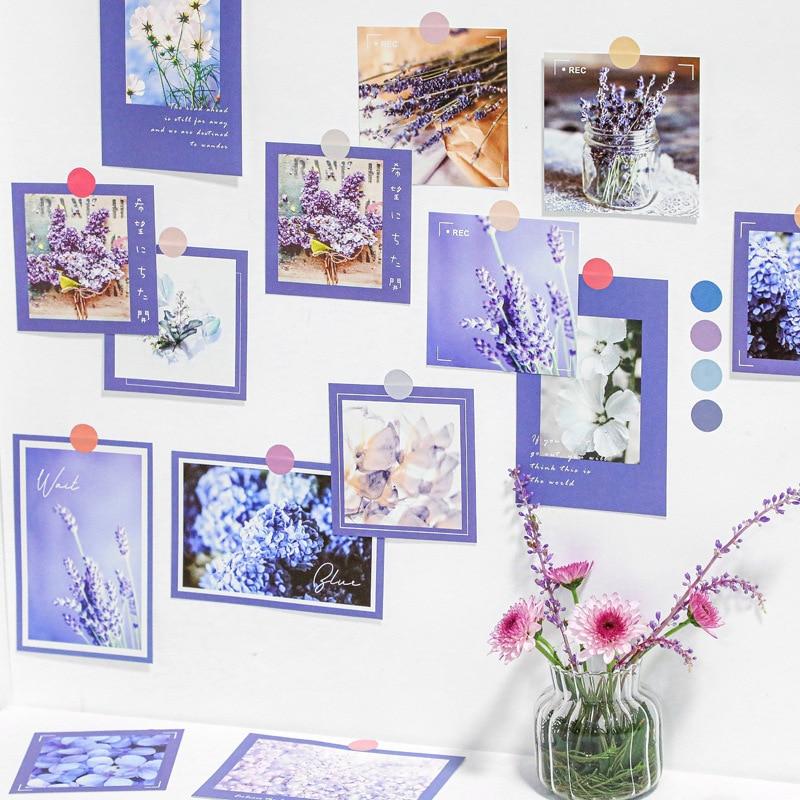 Декоративная открытка Ins с цветами, зелеными растениями, лавандой, 9 листов, квадратная открытка, реквизит для фото комнаты, фоторамка, карти...