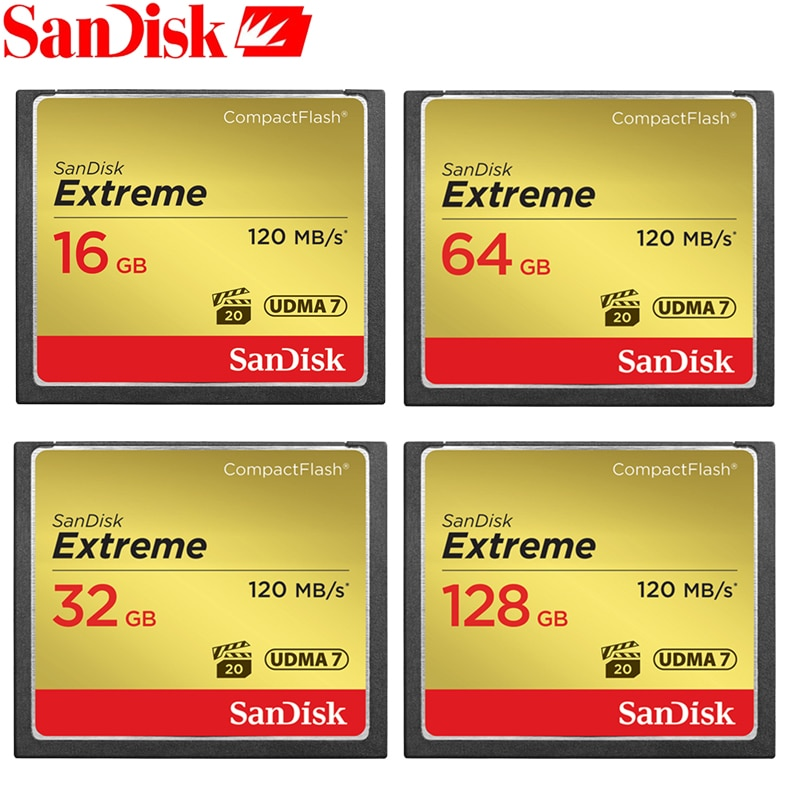 SanDisk CF Card Memory Card Extreme CompactFlash 32GB 64GB 128GB CF Card VPG-20 120MB/s For Rich 4K and Full HD Video SDCFXS