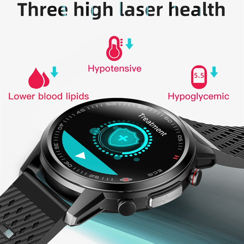 650nm Laser Treatment ECG PPG Smart Watches Health Tracking Blood Pressure Heart Rate Work with IPhone Huawei Xiaomi F800