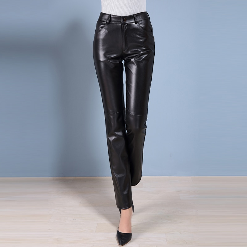 Genuine Leather Pants Women's Spring Autumn Black The First Layer Of Sheepskin Pants OL Straight Pants Thickened With Fleece