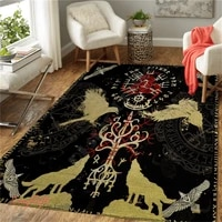 viking tattoo wolf 3d all over printed rug mat rugs anti slip large rug carpet home decoration 02