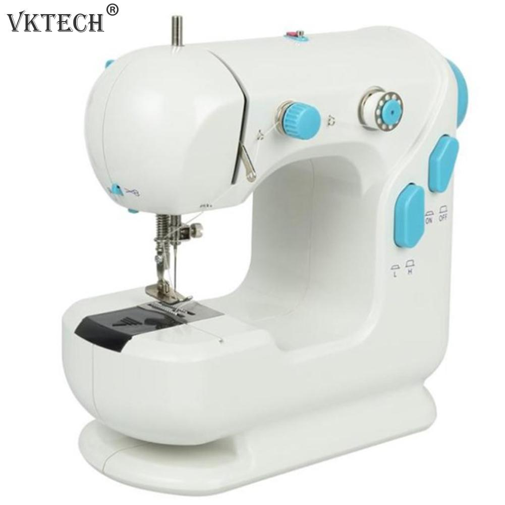 Мини электрическая бытовая швейная машина домашний стол двойные нитки Автоматическая обмотка швейные инструменты ткань швейная машина