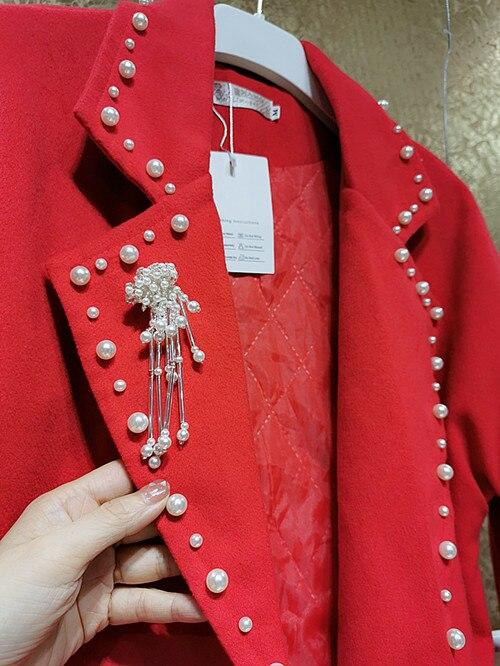 كوريا dongdamen الفاخرة الكلاسيكية الثقيلة صناعة الأظافر حبة ثلاثة الأبعاد اللؤلؤ رقيقة كبيرة معطف أحمر معطف الصوف