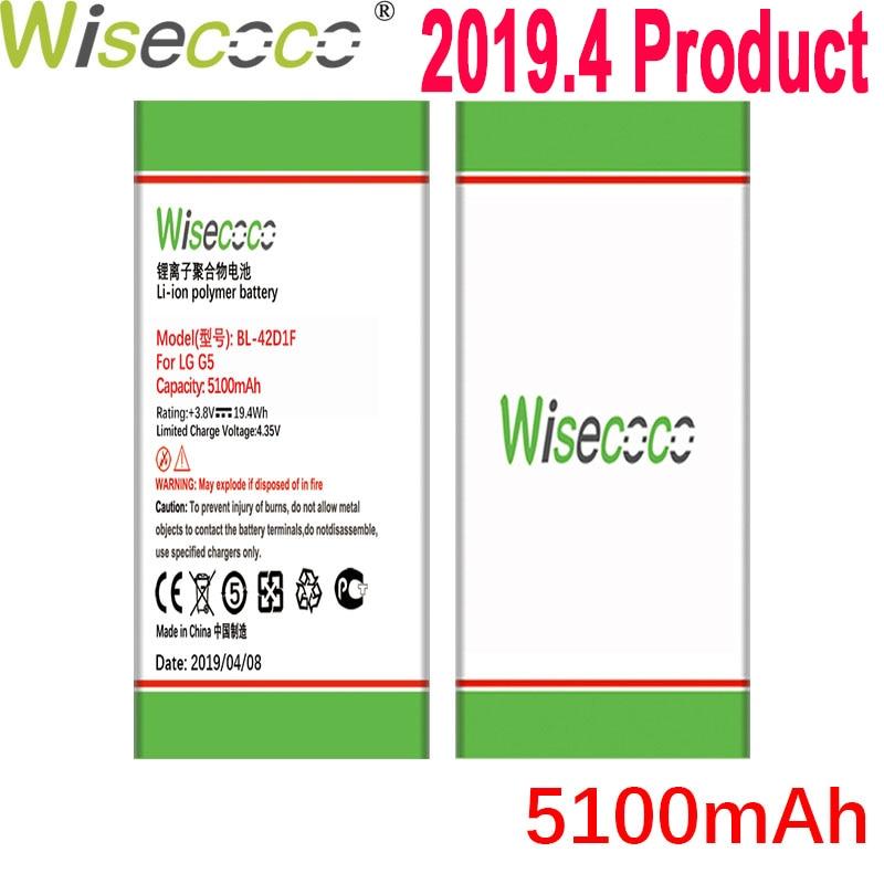 Wisecoco 5100 mah BL-42D1F bateria para lg g5 h850 h820 h830 h831 h840 h868 h860n h860 ls992 us992 f700l f700s f700k vs98 vs987