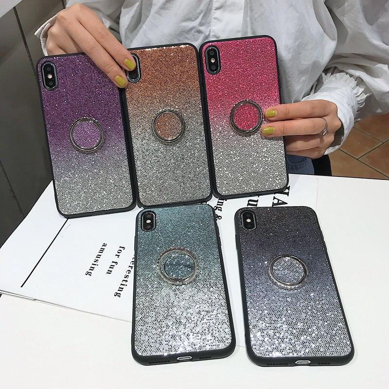 Funda de teléfono brillante con lentejuelas para iPhone XS Max XR XS funda de silicona suave para iPhone X 7 6 6s 8 Plus gradiente soporte Coque caso