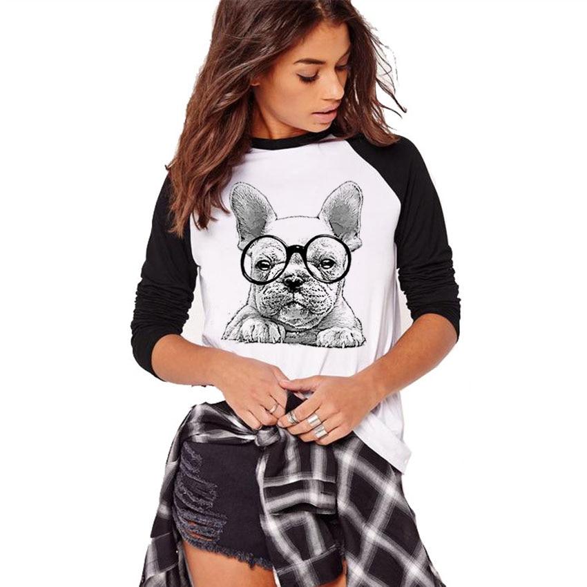 Camisetas de manga larga de otoño para mujer, camisetas con estampado de Bulldog Francés 3D, camisetas con cuello redondo