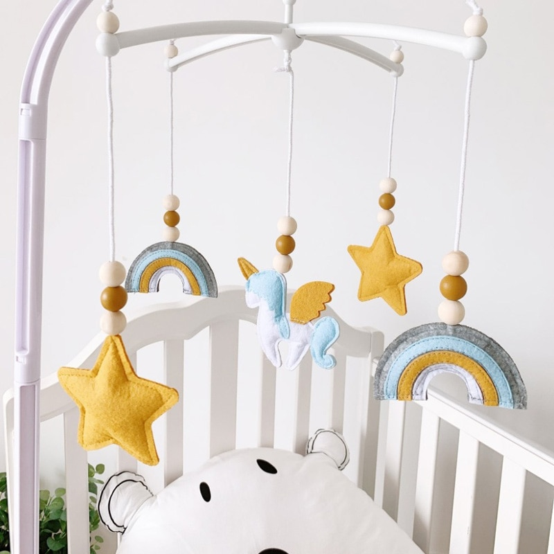 baby toys white rattles bracket set baby crib mobile bed bell toy holder arm bracket wind up music box drop shipping 0-12 Months For Newborn Toys Mobile Rattles Cartoon Animal Baby Crib Bed Bell INS Nordic Decor Baby Crib Wind Chime Bed Bells