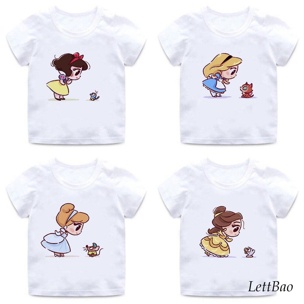 Divertida camiseta de Alicia impresa con zorros, camisetas de moda de princesas para niñas de 2 a 12 años, camiseta informal de verano para niñas