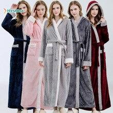 Осенняя и зимняя ночная рубашка утолщенного размера плюс, банный халат с капюшоном контрастного цвета, Женская домашняя одежда, ночная руба...