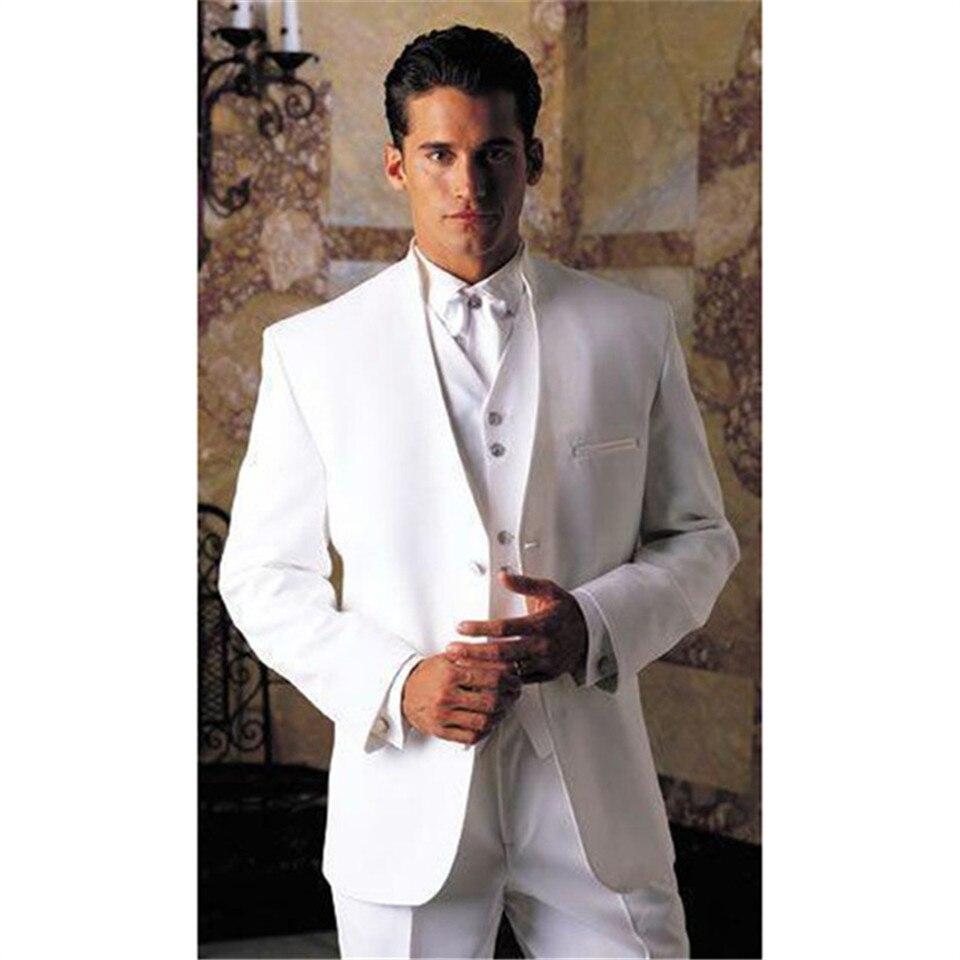 بدلة رسمية بيضاء للرجال ، بدلات رسمية للرجال ، ياقة عالية ، أفضل ، بليزر للحفلات والعريس ، طقم من 3 قطع (جاكيت + سترة وسروال) ، مجموعة جديدة