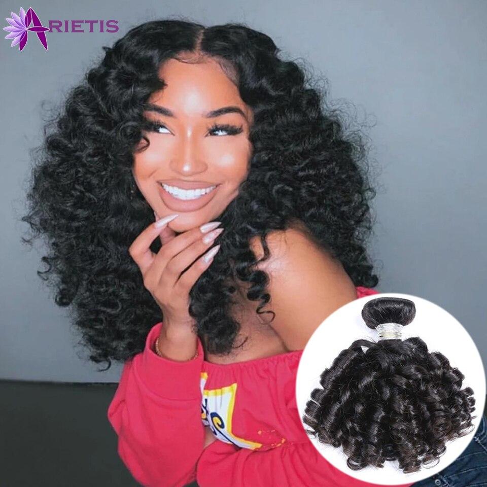 Peruvian Hair Weave Bouncy Curly Bundles Human Hair Natural Black 1/3/4pcs/Lot 100% Human Hair Bundles Remy Hair Hot Sale