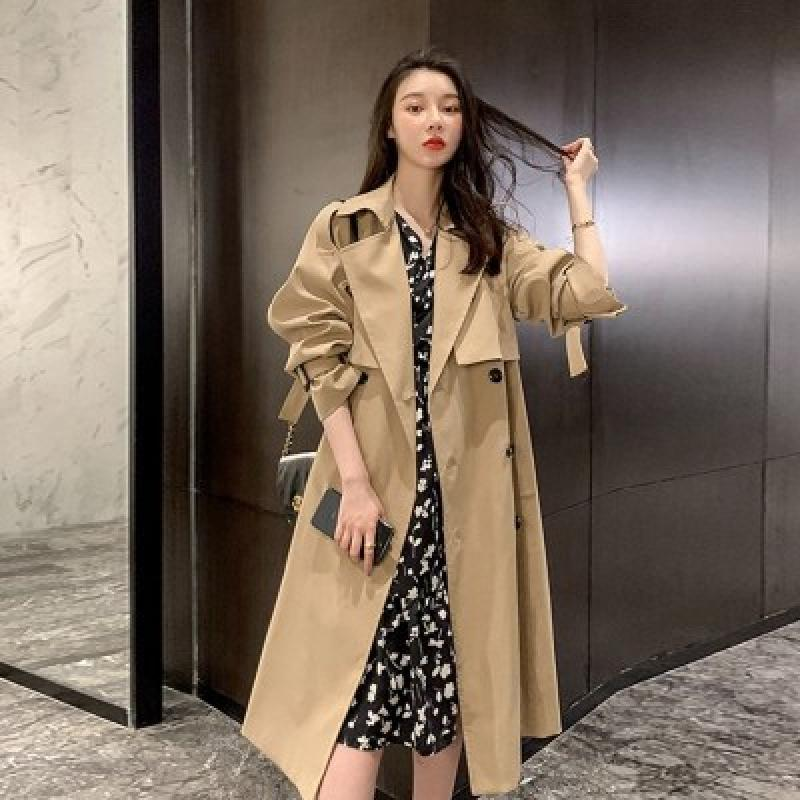 2021 Spring and Autumn New Women's Long Lace-Up Khaki Double-Breasted Trench Coat British Style Over