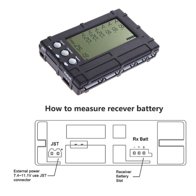 Medidor balanceador de descargador LCD 3 en 1 para batería lipo Li 2-6S