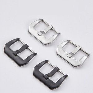 Metal Pin Buckle Watchband 18mm 20mm 22mm 24mm 26mm Brushed Silver Black Stainless Steel Clasp Watch Band Accessories