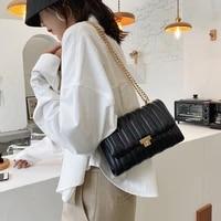 trending chain pu leather crossbody bags for women 2021 winter simple branded shoulder handbags female designer hand bag