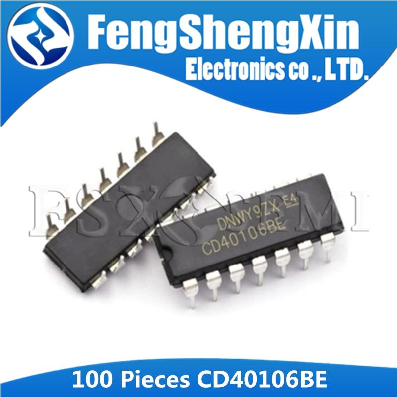 100 unids/lote CD40106BE DIP-14 CD40106 HEF40106 HCF40106 CMOS hex Schmitt activa IC