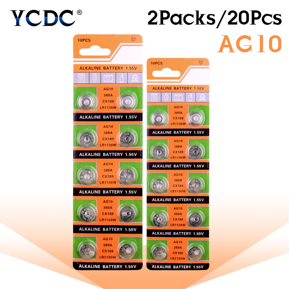 YCDC 20pcs AG10 LR1130 1130 SR1130 389A LR54 L1131 389A 1.55V Button Battery MP3 Players,Toys watch