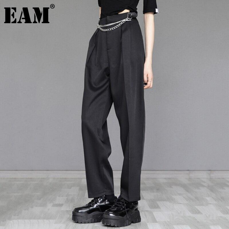 [EAM] بنطلون عالي الخصر أسود رمادي بسلسلة طويلة وواسعة الساق سراويل فضفاضة جديدة تناسب النساء الموضة المد الربيع الخريف 2021 1DE1945