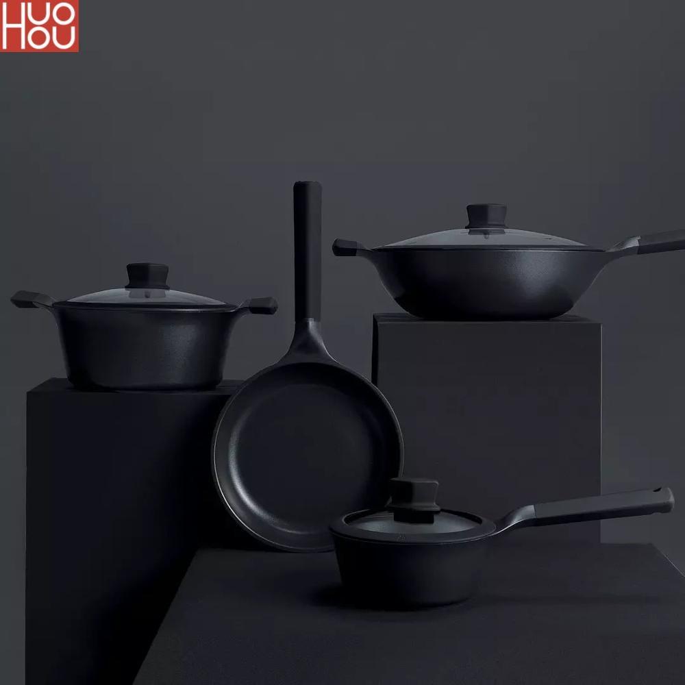 Sartén antiadherente súper platino Huohou, sartén para leche Wok, sartén duradera fácil de alta limpieza, recordatorio de temperatura para Cocina