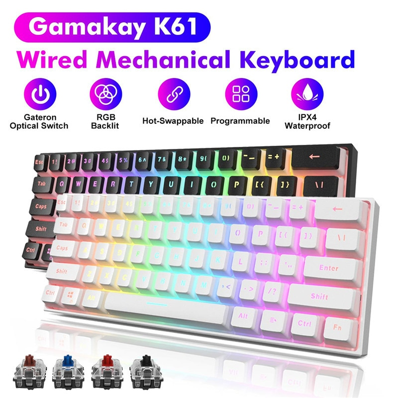 MK61 61 Keys Wired Gaming Mechanical Keyboard Gateron Optical Switch NKRO RGB Backlight PBT Keycaps Red Switch For PC Computer