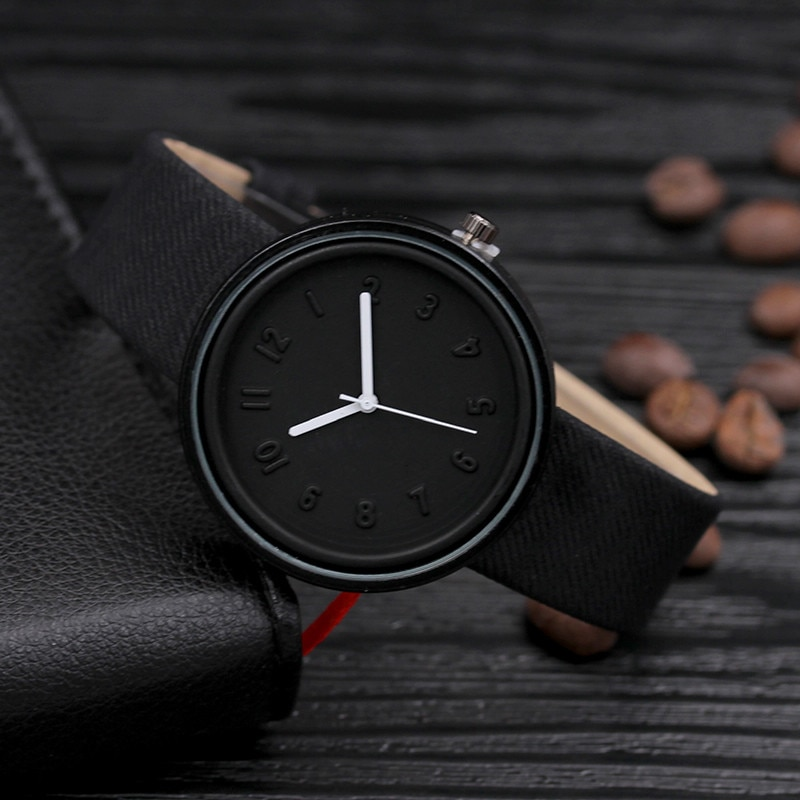 Moda de luxo unisex banda lona analógico relógio de pulso de quartzo masculino feminino temperamento relógio reloj mujer preto presente