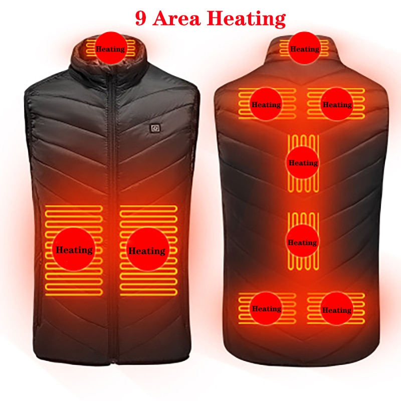 New 9 Places Heated Vest Men Women Usb Heated Jacket Heating Vest Thermal Clothing Hunting Vest Winter Heating Jacket BlackS-6XL