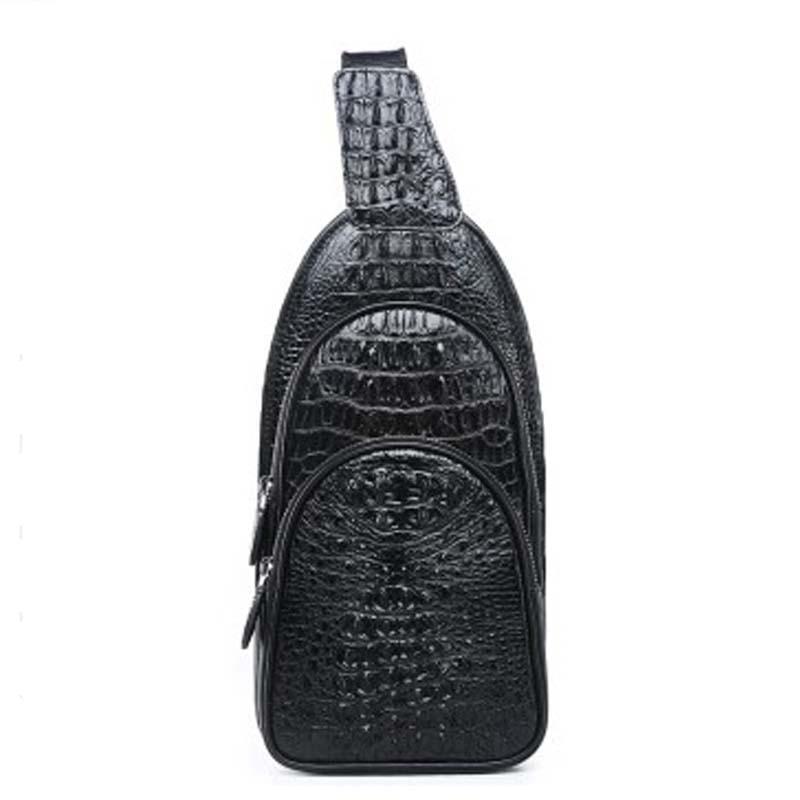 menggeka new Crocodile leather men Chest bag Crocodile leather leisure single shoulder bag male bag