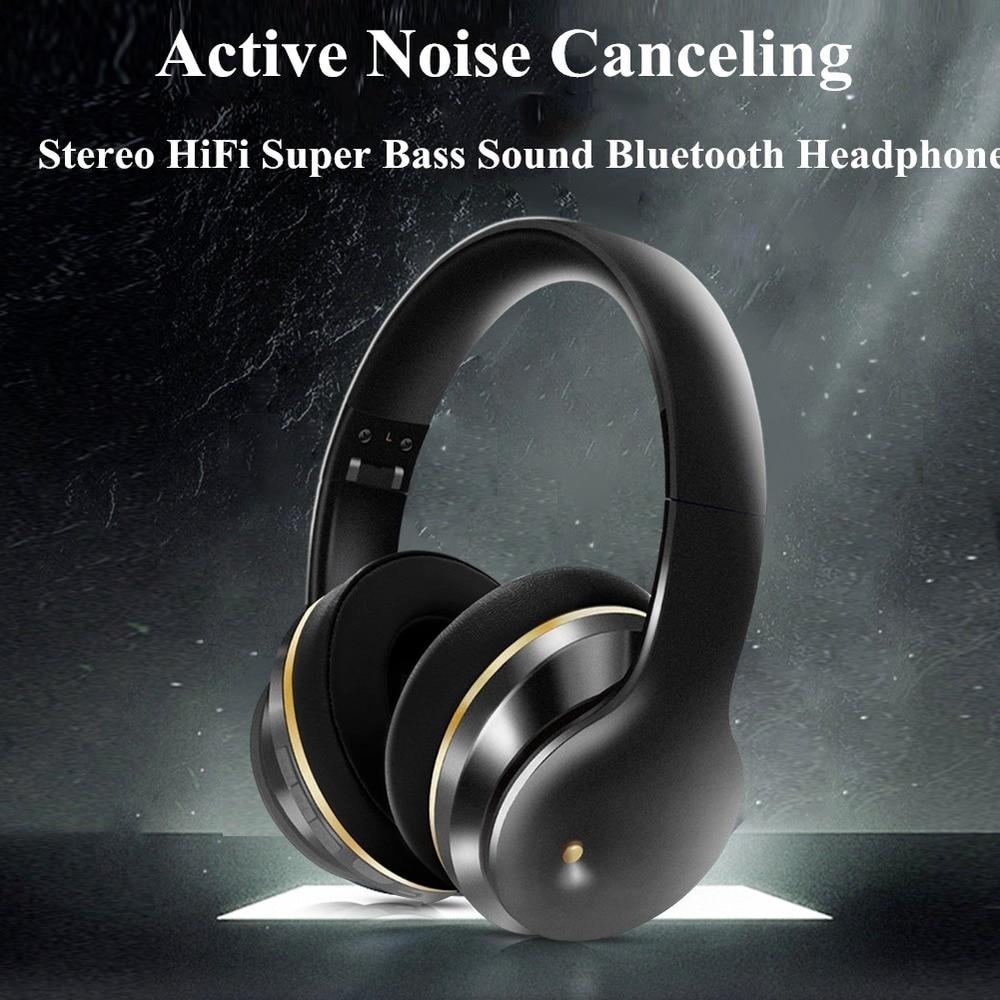 Fone de Ouvido sem Fio Bluetooth 450mah com Microfone Dobrável Estéreo Alta Fidelidade Super Bass Cancelamento Ruído Ativo 5.0