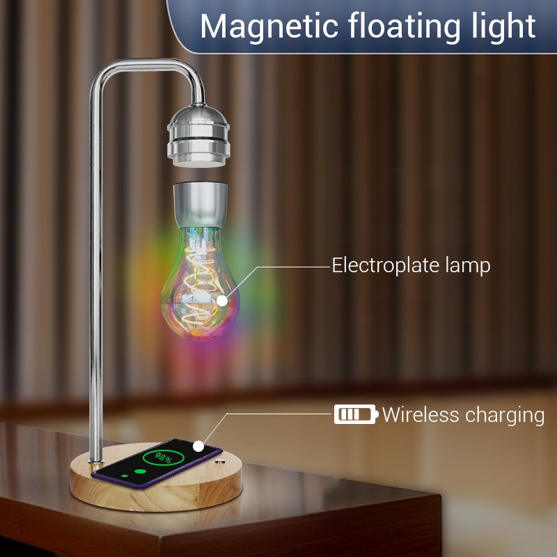 Magnetic Levitation Lamp Creativity Floating Bulb for Birthday Gift Decor magnet levitating Light Wireless Charger for Phone