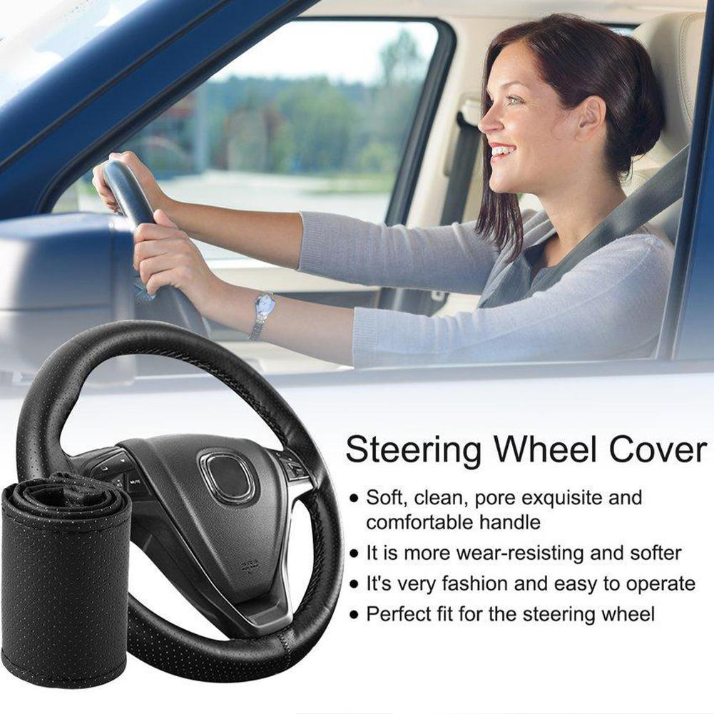 Black 37-38cm DIY Car-Styling Auto PU Leather Car Steering With Covers Wheel Needles and accessories