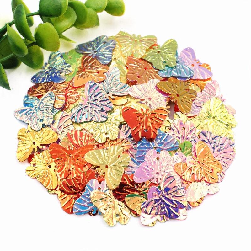 300 Uds mariposa lentejuelas sueltas Multicolor lentejuelas para coser manualidades niños DIY Ropa Accesorios de sombrero 17X22mm