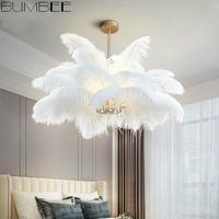 Nordic Creative Feather Chandelier Ceiling Lamp Modern Luxury Living Room Bedroom Warm Hanglamp Light Luxury Lustres Fixtures