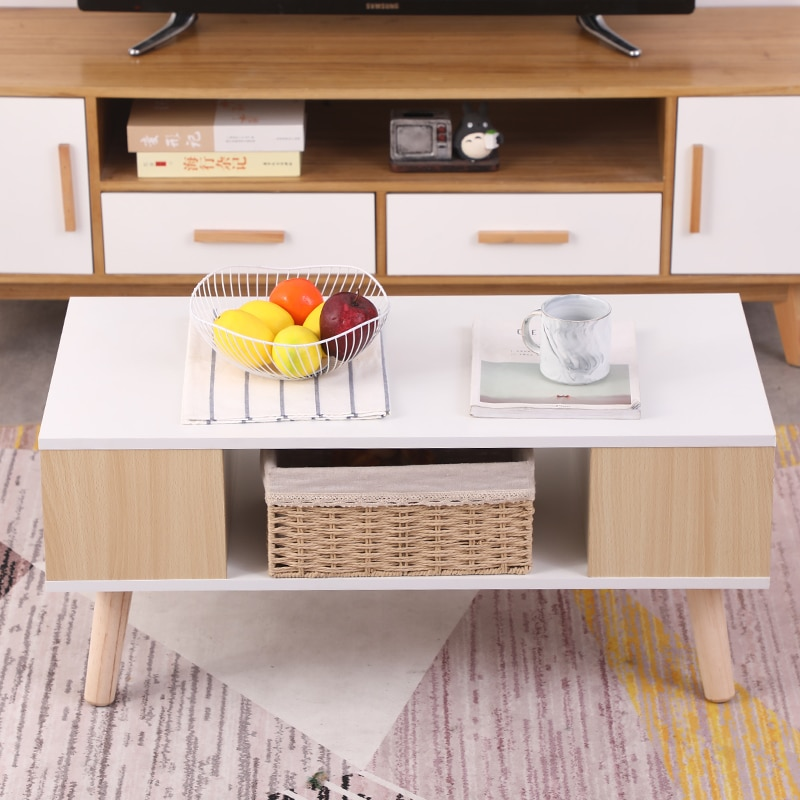 1Pc Pratical Coffee Table Living Room Furniture Multifuntion Tea Reception Double Coffee Table High Quality Storage Table HWC