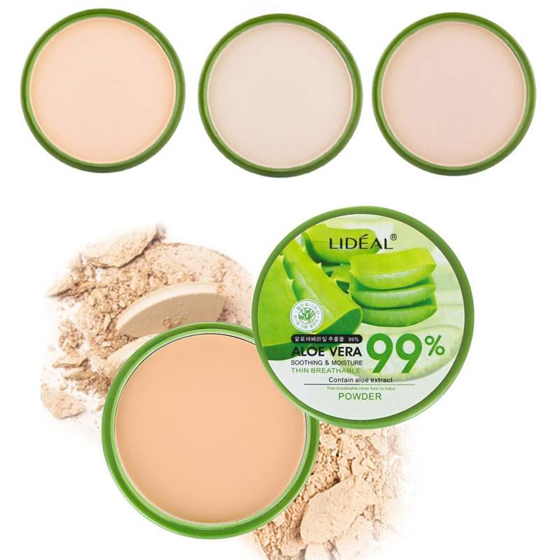Waterproof  99% Aloe Vera Moisturizer Face Powder Smoothing Pressed Powder Breathable Makeup Concealer Brighten Foundation недорого