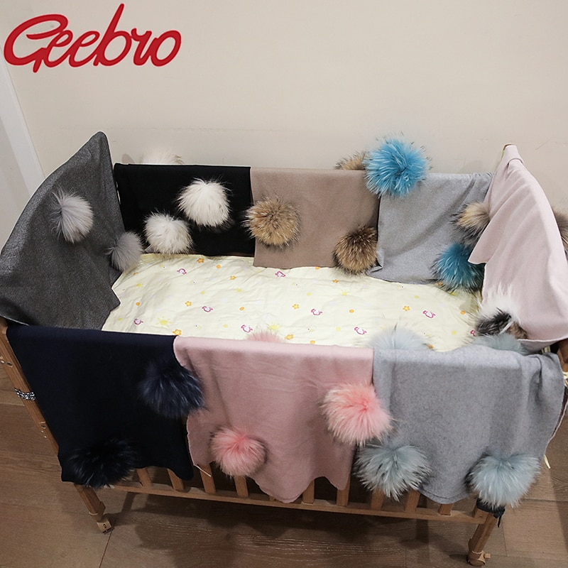 Geebro Newborn Warm Wool Swaddling Blanket With 15cm Real Raccoon Fur Pompom Kids Baby Travel Sleeping Blanket Bedding