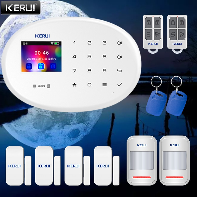 KERUI Smart Home Security Touch Button 2.4G WIFI Wireless Network APP Alarm Push Function Low Battery Reminder GSM Realtime Feed